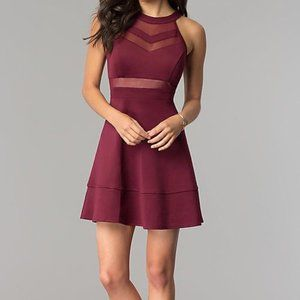 Wine Red Party Dress with Sheer Waist